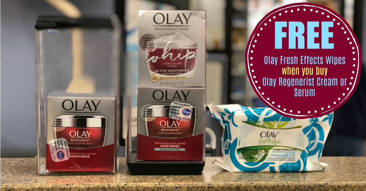FREE Olay Fresh Effects Wipes wyb Olay Regenerist Cream or