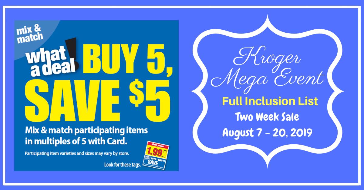 Kroger Buy 5 Save 5 Mega Event Full Inclusion List 2 Week Sale Kroger Krazy